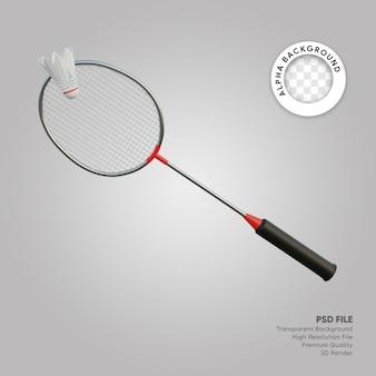 3d illustratie van shuttle en badmintonracket