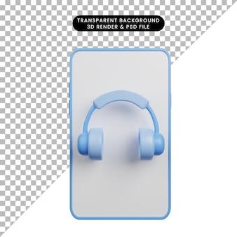 3d illustratie van smartphone met hoofdtelefoon