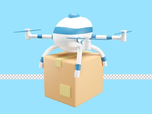 3d illustratie van snelle bezorgservice per drone