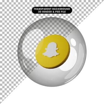 3d illustratie van social media icon snap chat