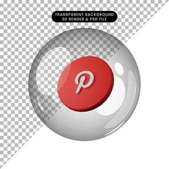3d illustratie van social media icoon pinterest
