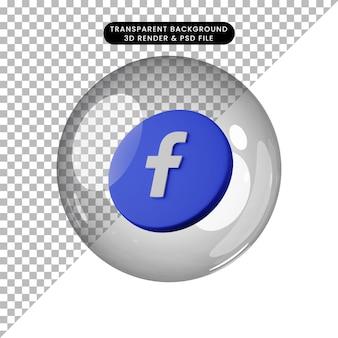 3d illustratie van sociale media icoon facebook