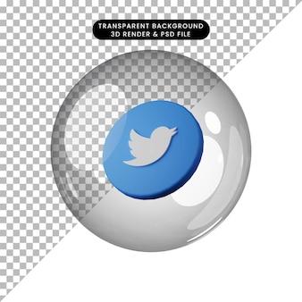 3d illustratie van sociale media pictogram twitter