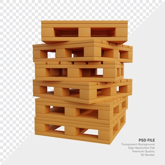 3d illustratie van stapel pallets