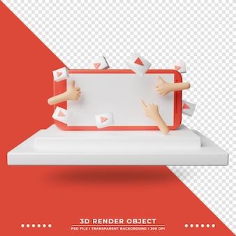 3d illustratie van touchscreen smartphone versierd met play knop pictogram ornament. technologie illustratie. 3d-weergave.