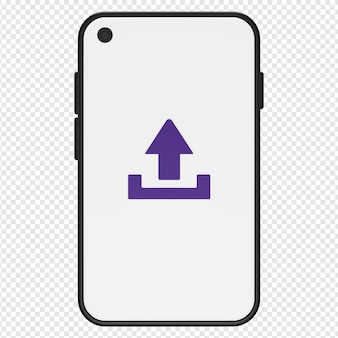 3d illustratie van uploaden in smartphonepictogram psd