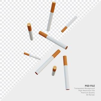 3d illustratie van vallende sigaretten