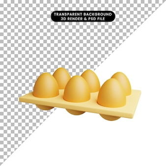 3d illustratie van voedsel ei