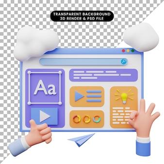 3d illustratie van webillustratie met 3d-stijl