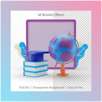 3d illustratie van wit bord en glob met terug naar school concept