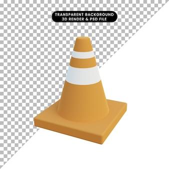 3d illustratie verkeerskegel