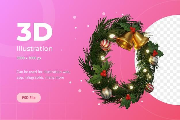 3d illustratie, vrolijk kerstfeest, cirkel komst, met bel, bloem poinsettia en lamp.