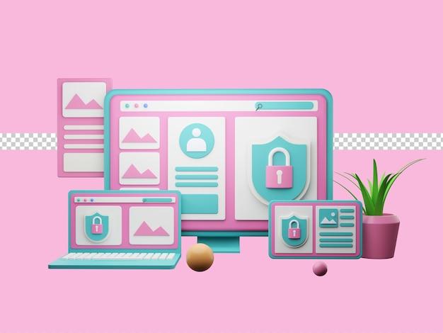 3d illustratie, wereldwijde gegevensbeveiliging, beveiliging van persoonlijke gegevens, cybergegevensbeveiliging online conceptillustratie, premium psd