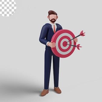 3d illustratie. zakenman focus op zakelijk doel, doel stellen voor motivatie
