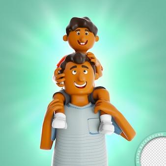 3d illustratie zoon op vaders nek gelukkige vaders dag