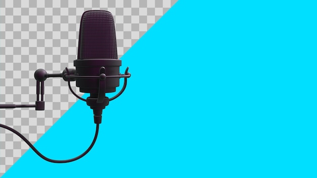 3d illustratie zwarte microfoon uitknippad