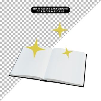 3d illustratieboek open en knipperlicht met fonkeling
