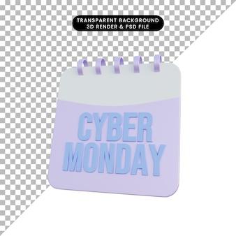 3d-illustratiekalender met informatie over cybermaandag