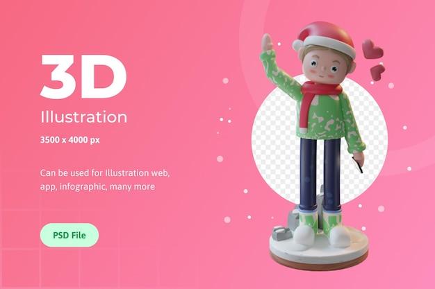 3d-illustratiekarakter met sjaal en muts kerstmis gebruikt voor webapp infographic banner enz