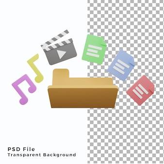 3d-illustratiemap met veel bestanden document filmmuziek pictogram element activa