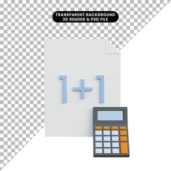 3d-illustratiepapier met rekenmachine