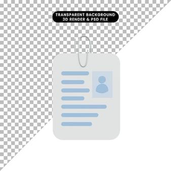 3d illustratieprofiel iemand met paperclip