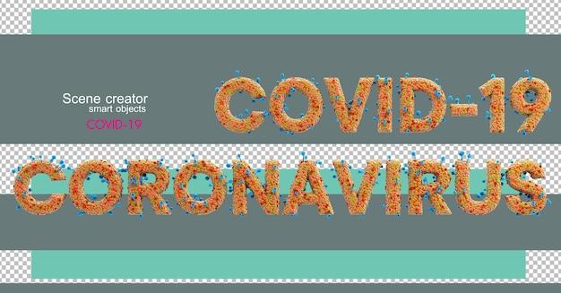 3d-illustraties van verschillende cijfers en letters met covid-19