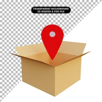 3d-illustratieverpakking met locatiepictogram