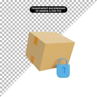 3d-illustratieverpakking met veiligheidsslotpictogram
