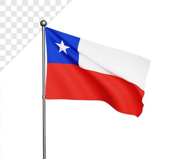 3d ilustración de la bandera de chile