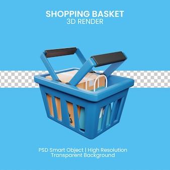 3d ilustración de la cesta de la compra aislada