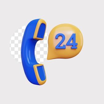 3d ilustración de concepto de icono de soporte de 24 horas