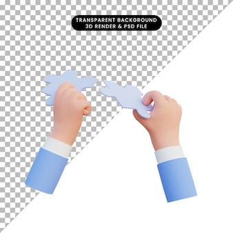 3d ilustración mano sujetando las piezas del rompecabezas