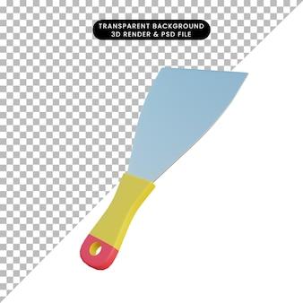 3d ilustración simple objeto espátula