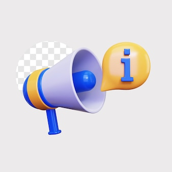 3d-informatieaankondiging door megafoonluidsprekerpictogram