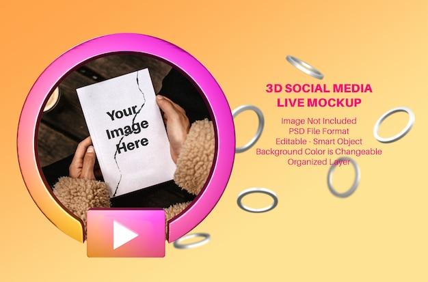 3d instagram avatar social media live streaming mockup