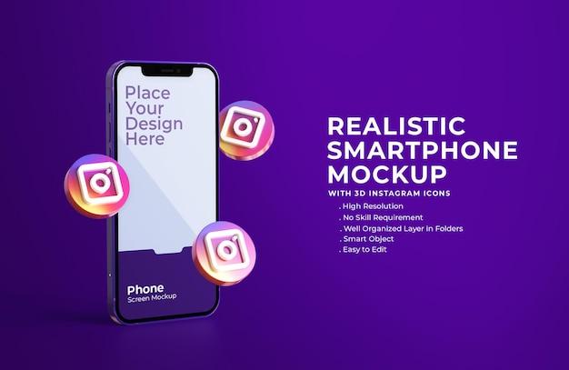 3d instagram-pictogrammen met mockup voor mobiel scherm