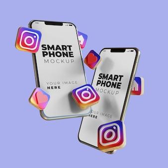 3d instagram smartphone scherm mockup