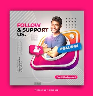 3d instagram sociale mediasjabloon