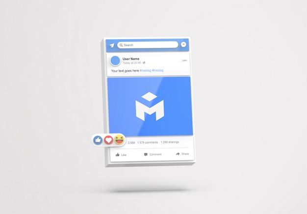 3d interfaccia social media facebook mockup