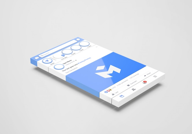 3d-interface sociale media facebook-mockup