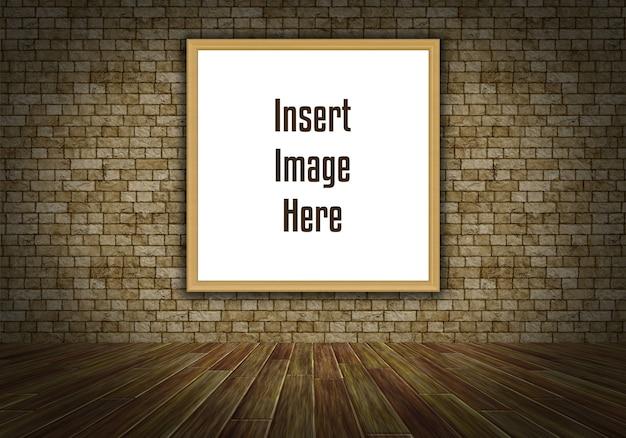 3d interieur mock up met lege afbeeldingsframe op de muur
