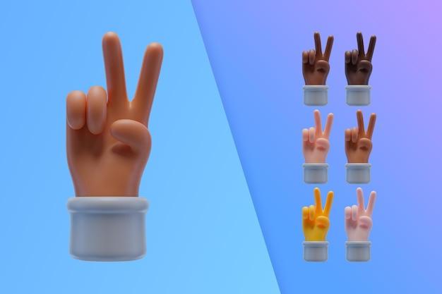3d inzameling die met handen vredesteken maken