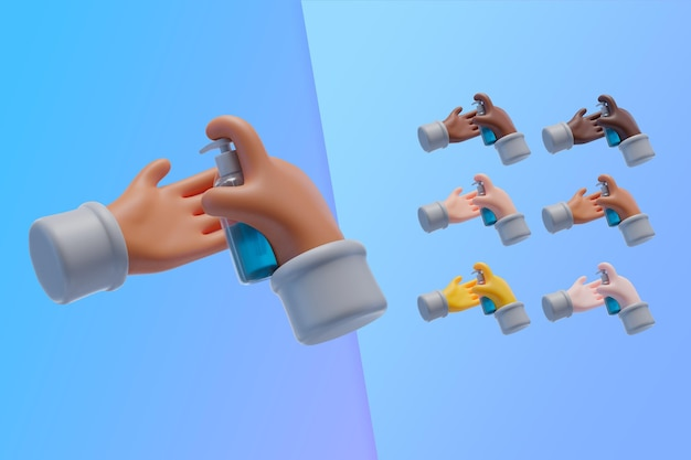 3d inzameling met handen die handdesinfecterend middel gebruiken