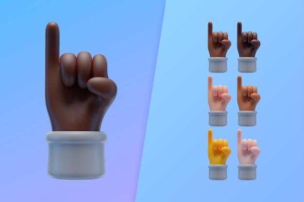 3d inzameling met handen die pink opheffen