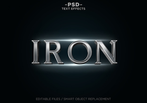 3d iron steel effects-sjabloontekst