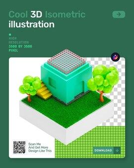 3d isometrische illustratie met boomgras en architectuur