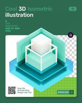 3d isometrische illustratie met glasarchitectuur