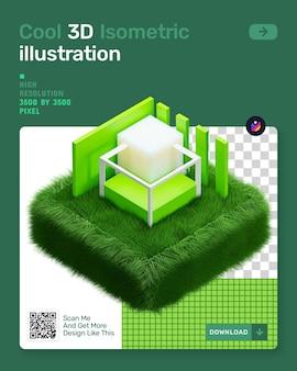 3d isometrische illustratie met groen gras en architectuur