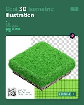 3d isometrische illustratie met groen gras